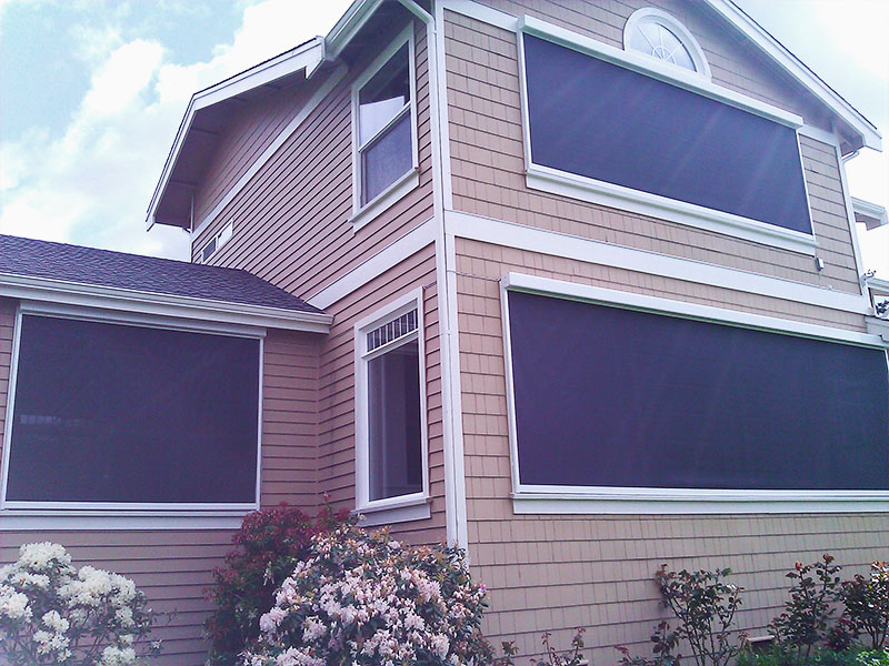 Seattle outdoor solar screens sunrise shading for Exterior motorized solar shades